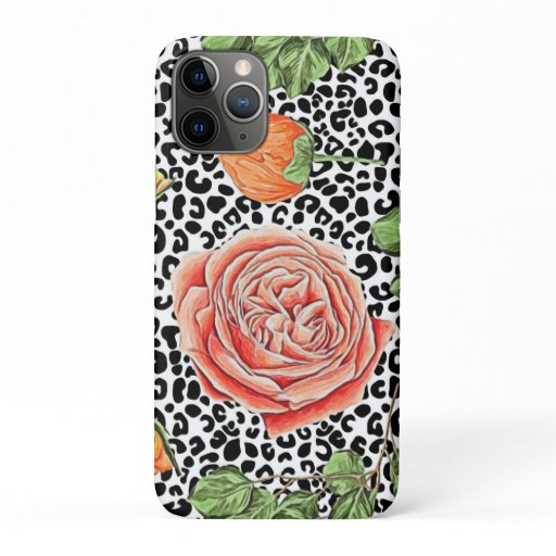 Trendy Leopard Print Chic Orange Rose Floral iPhone 11 Pro Case