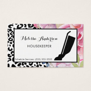 Animal print business cards templates zazzle trendy leopard print floral housekeeper and vacuum business card reheart Images