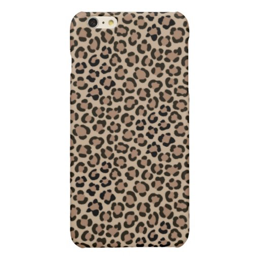 Trendy Leopard Print Fur Effect Repeat Pattern Glossy iPhone 6 Plus Case