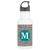 Trendy Leopard Print Pattern with Aqua Monogram Stainless Steel Water Bottle
