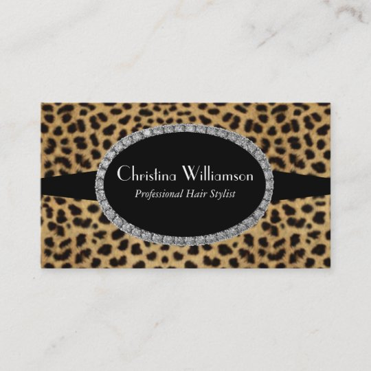 Trendy leopard print rhinestones business card zazzle trendy leopard print rhinestones business card reheart Image collections