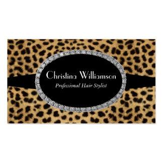 Trendy Leopard print Rhinestones Business Card Templates