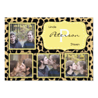 Trendy Leopard Print With Lemon Yellow Accent Custom Announcement