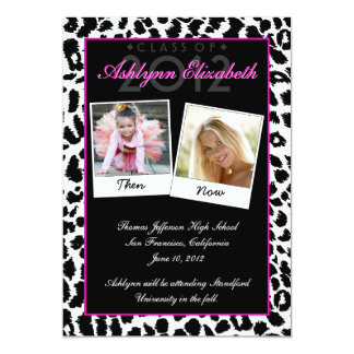 Trendy Leopard Then and Now Graduation Invitation