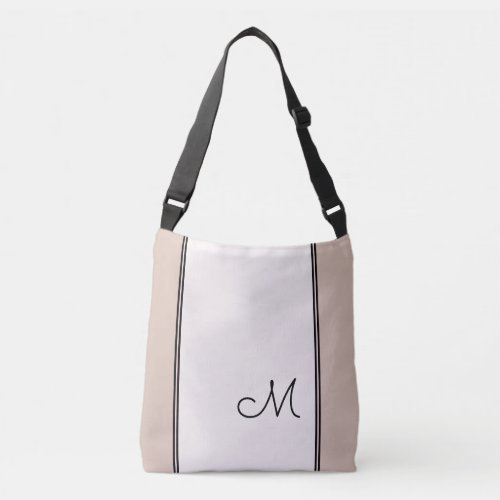 Trendy Light Pink Color Block with Black Monogram Crossbody Bag