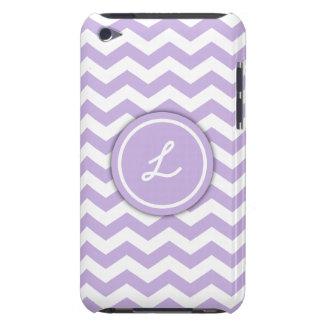 Trendy Light Purple Monogram Chevron Pattern Case-Mate iPod Touch Case