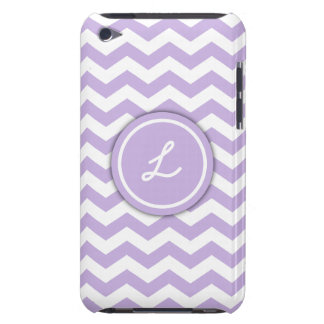 Trendy Light Purple Monogram Chevron Pattern iPod Touch Covers