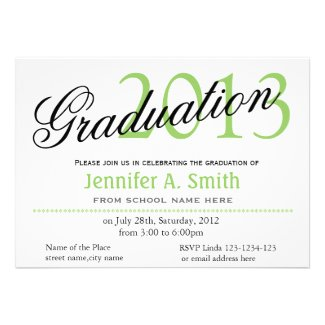 Trendy lime classic,stylish graduation announcment cards