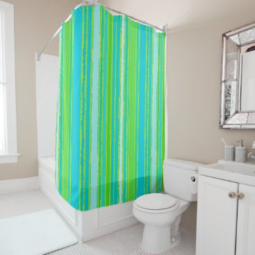 Beach Themed Trendy Lime Green Aqua Turquoise Stripes Pattern Shower Curtain