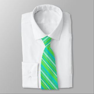 Trendy Lime Green Aqua Turquoise Stripes Pattern Tie