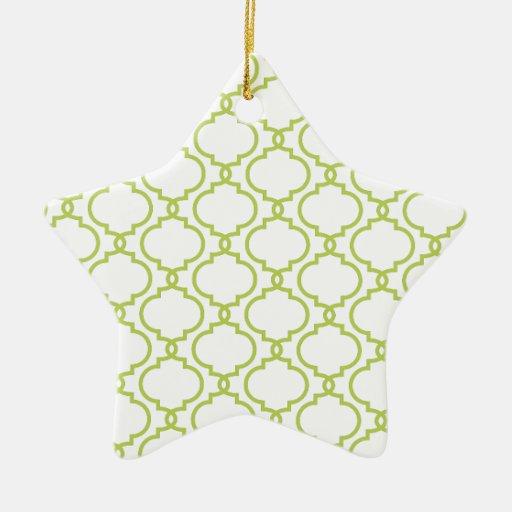 Trendy Lime Green Pattern Ceramic Ornament