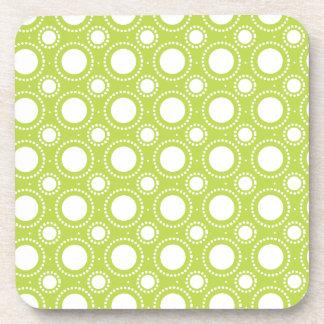 Trendy Lime Green Polka Dots Pattern Coaster