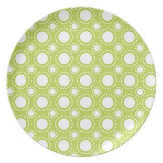 Trendy Lime Green Polka Dots Pattern Party Plates