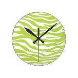 Trendy Lime Green Zebra Print Pattern Round Wallclock
