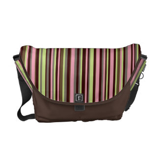 Trendy Lime & Pink Stripes on Brown Courier Bag