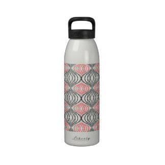 Trendy Lines Pattern In Red And Black On White Reusable Water Bottles
