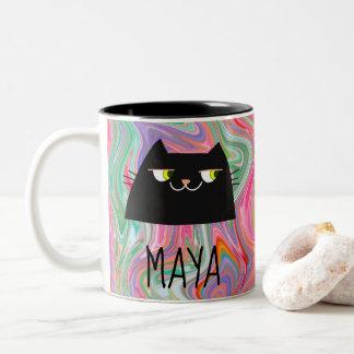 Trendy Liquid Effect Colorful Cool Black Cat Mug
