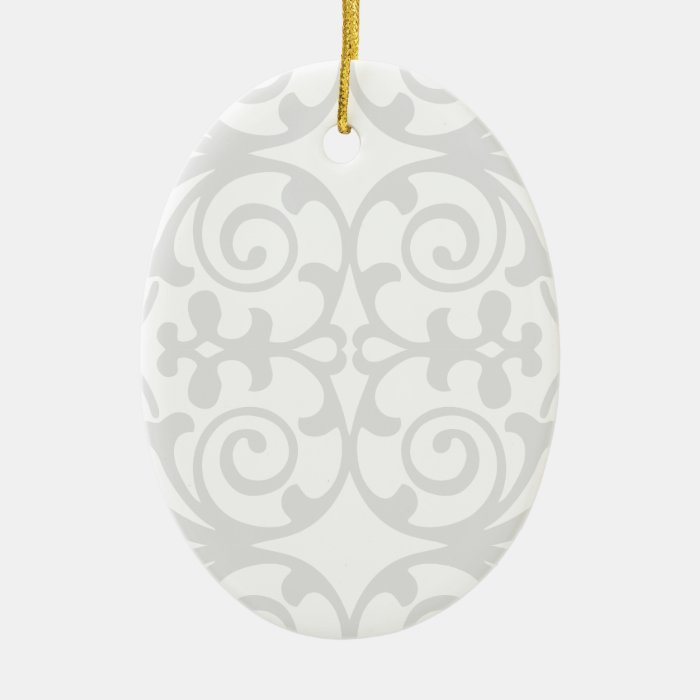 Trendy Lite Gray Damask Pattern Ceramic Ornament