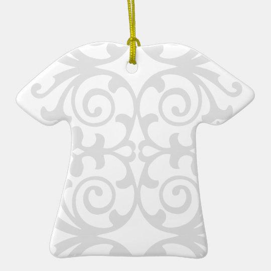Trendy Lite Gray Damask Pattern Ceramic Ornament