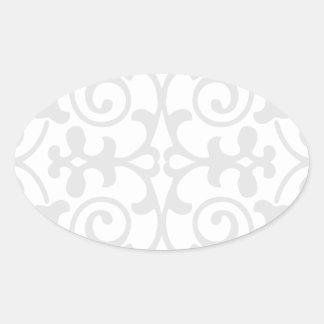 Trendy Lite Gray Damask Pattern Oval Sticker