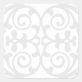 Trendy Lite Gray Damask Pattern Square Sticker