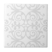 Trendy Lite Gray Damask Pattern Tile