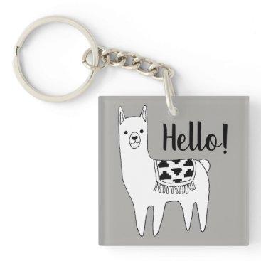 GrudaApparel Trendy Llama Sketch Hello! Keychain