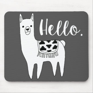 Trendy Llama Sketch Hello Mouse Pad
