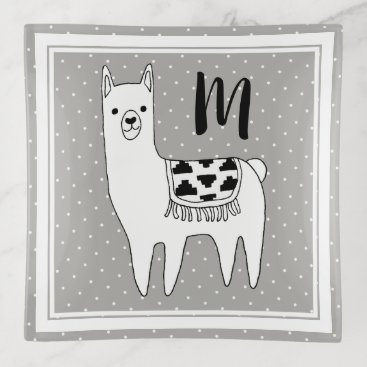 Aztec Themed Trendy Llama Sketch & White Dots Initial Letter Trinket Trays