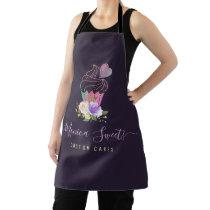trendy logo purple script cakery apron