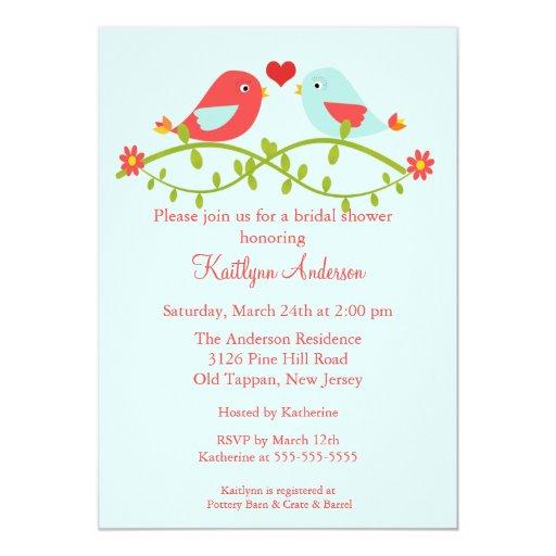 Trendy Love Birds Bridal Shower Invitation