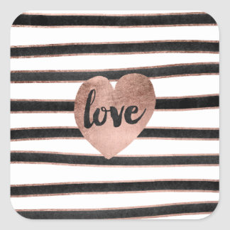 Trendy love typography rose gold hearts stripes square sticker