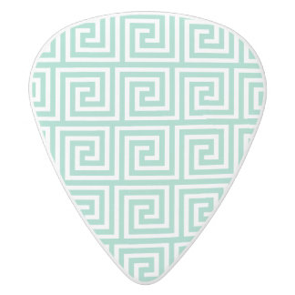 Trendy Lucite Green and White Greek Key Pattern White Delrin Guitar Pick