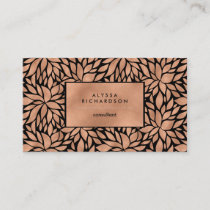 Trendy Luxe Faux Rose Gold Floral Pattern Business Card
