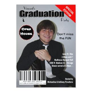 Trendy Magazine Cover Graduation Party Invite