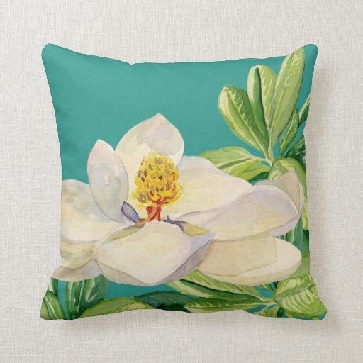 Abc Home Decorative Pillows : Trendy Magnolia Floral art Decorative Throw Pillow Zazzle