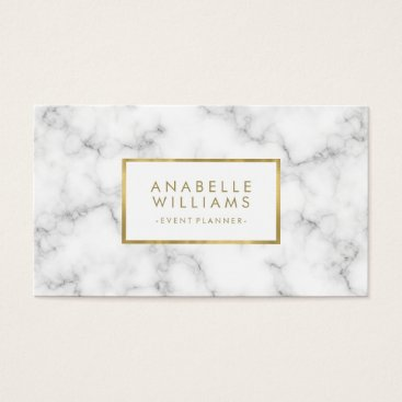 heartlocked Trendy Marble and Faux Gold Texture Business Card