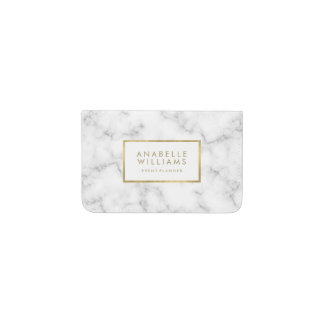 Trendy Marble and Faux Gold Texture Business Card Holder