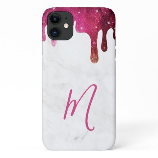 Trendy Marble Galaxy Drip Script Monogram iPhone 11 Case