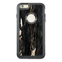Trendy Marble Pattern Black Gold Gray OtterBox iPhone 6/6s Plus Case