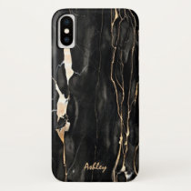 Trendy Marble Pattern Black Gold Gray Personalized iPhone X Case