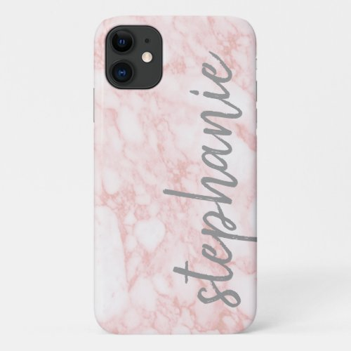 Trendy Marble Pattern with name rose gold gray Phone Case