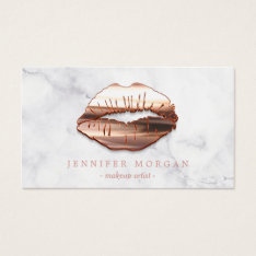 Trendy Marble Rose Gold 3D Lips Makeup Artist Business Card at Zazzle