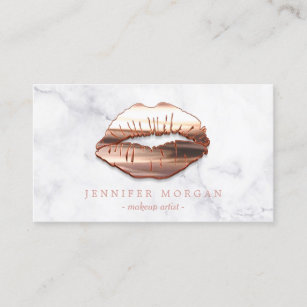 Makeup artist business cards zazzle trendy marble rose gold 3d lips makeup artist business card cheaphphosting Image collections
