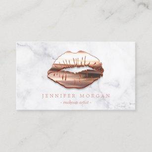 Makeup artist business cards zazzle trendy marble rose gold 3d lips makeup artist business card colourmoves