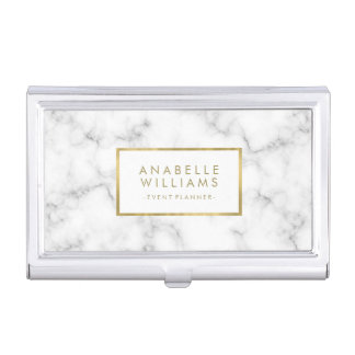 Trendy Marble Texture and Faux Gold Foil Business Card Case