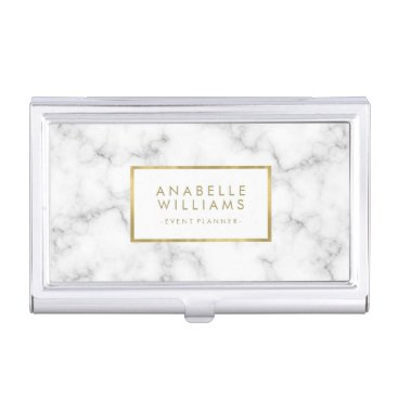 heartlocked Trendy Marble Texture and Faux Gold Foil Business Card Case