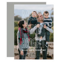 Trendy Merry and Bright Overlay Holiday Flat Card