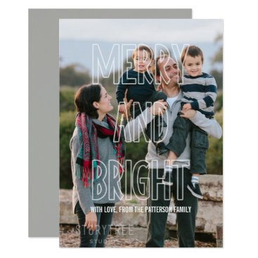 Beach Themed Trendy Merry and Bright Overlay Holiday Flat Card