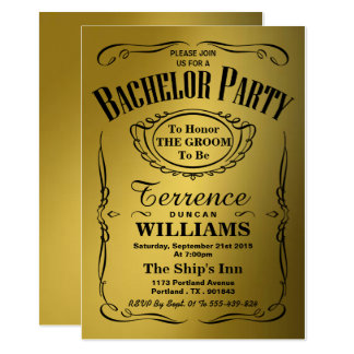 Trendy Metallic Gold Typography Bachelor Party Card
